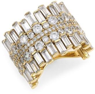 Adriana Orsini 18K Goldplated & Cubic Zirconia Cigar Band Ring