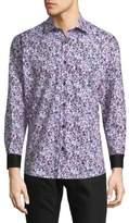 Jared Lang Splatter Cotton Button-Down Shirt