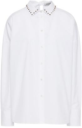 Valentino Pussy-bow Studded Cotton-poplin Shirt