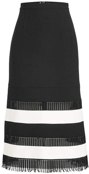 Roland Mouret Wool Midi Skirt with Fringed Hem