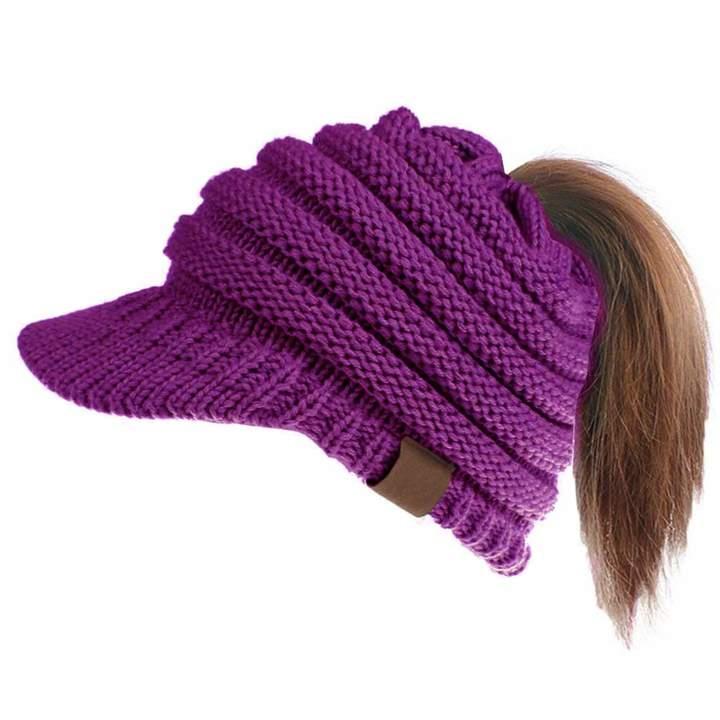 b11c46535 Ymombest Ponytail Beanie Visor Cap Knit Messy High Bun Winter Cap Ribbed  Hat Cap