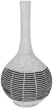 Source - White Calabash Vase With Horizontal Stripe - Large