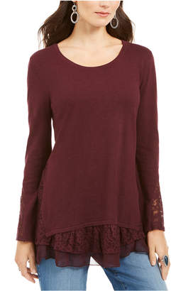 Style&Co. Style & Co Petite Lace-Trimmed Long-Sleeve Top