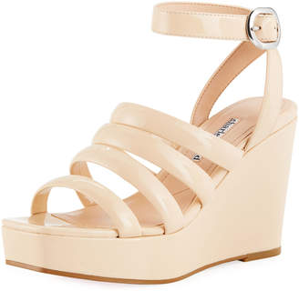 Charles David Judy Strappy Patent High Wedge Sandals, Nude