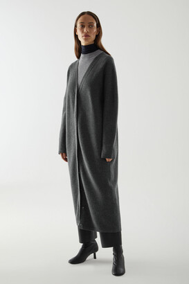 Cos Boiled Merino Wool Longline Cardigan