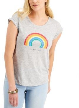 Style&Co. Style & Co Rainbow Nice Day Graphic T-Shirt, Created for Macy's