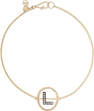 Annoushka 18kt yellow gold diamond initial L bracelet