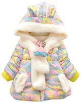 Aivtalk Baby Girls Rabbit Hooded Jacket Down Coat with Scarfs Size 70