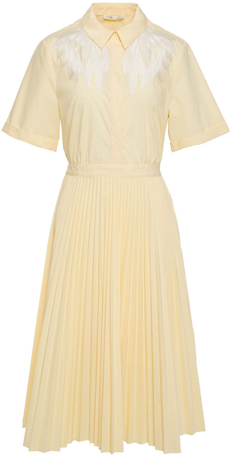 Maje Rivers Cutout Pleated Embroidered Poplin Midi Dress