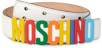 Moschino Multicolor Logo Leather Belt