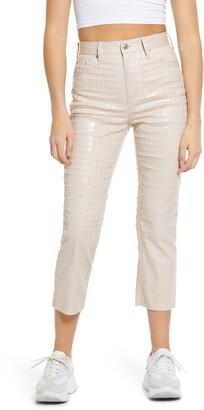 Topshop Crocodile Editor High Waist Crop Straight Leg Jeans