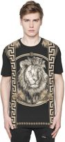 Versus Lion & Greek Motif Cotton Jersey T-Shirt