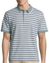 Claiborne Short Sleeve Stripe Cotton Blend Polo Shirt