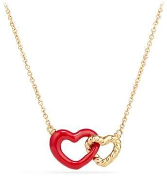 David Yurman Double Heart Pendant Necklace With Red Enamel And 18K