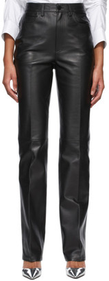 Alexander Wang Black Dipped Back Leather Pants