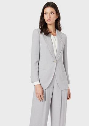 Giorgio Armani Single-Breasted Jacket In Granite-Effect Fabric