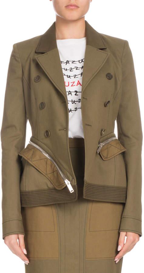Altuzarra Double-Breasted Cotton-Drill Zip-Off Peplum Jacket