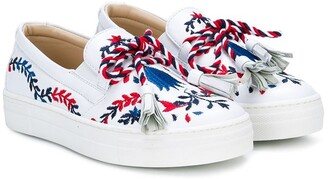 Ermanno Scervino Embroidered Tassel Sneakers