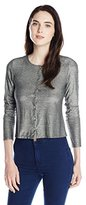 Only Hearts Women's Metallic Jersey Button Down Cardigan