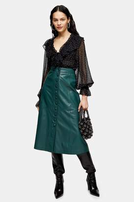 Topshop Womens Dark Green Leather Midi Skirt - Green