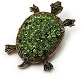Avalaya Crystal Turtle Brooch (Bronze Tone Metal)