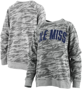 Unbranded Women's Pressbox Camo Ole Miss Rebels Gulfport French Terry Raglan Pullover Sweatshirt