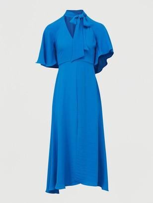 River Island Tie Neck Midi Dress-blue