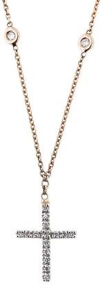 Jacquie Aiche Diamond Single Cross Rose Gold Choker Necklace