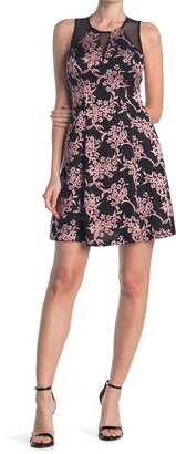 GUESS Floral Print Fit And Flare Dress With Sheer Detailing