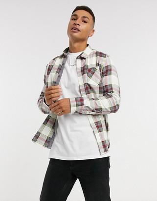 Brave Soul tartan check flannel shirt in ecru