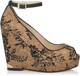 Jimmy Choo PACIFIC 120 Black Lace Covered Cork Wedges