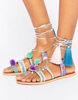 Asos FESTIVE Leather Pom Tie Leg Sandals