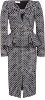 Michael Kors Multi-Print Cut-Out Wool Peplum Dress