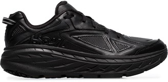 Hoka One One black Bondi low-top leather sneakers