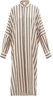 Marrakshi Life - Dolman-sleeve Striped Cotton-blend Shirtdress - Womens - Pink Multi