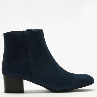 Lamica Navy Suede Low Block Heel Ankle Boots