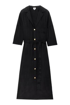 Twist & Tango - Alba Long Shirt Dress with Golden Buttons - 34 | black | Tencel - Black/Black