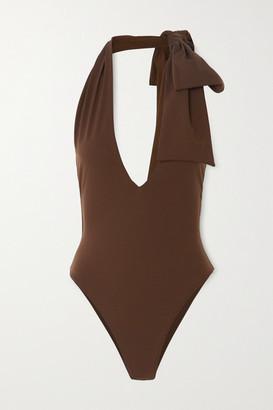 Fendi Bow-embellished Halterneck Swimsuit - Brown