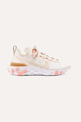 Nike React Element 55 Neoprene, Faux Leather And Mesh Sneakers - Beige