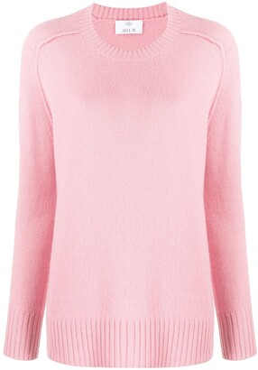 Allude Ribbed-Trim Crew Neck Jumper