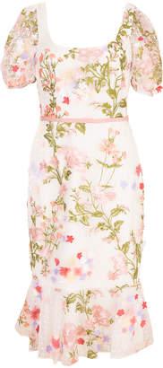 Marchesa Ruffle Hem Embroidered Dress