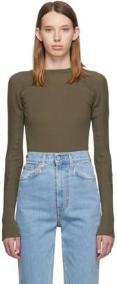 Helmut Lang Green Rib Knit Crewneck Sweater