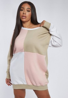 Missguided Plus Size Stone Color Block Oversized Sweater Dress