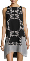 Max Studio Floral-Print Shift Dress, Black/Khaki
