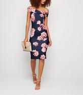 New Look Rose Spot Bardot Bodycon Midi Dress