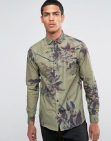 Selected Shirt with All Over Floral Print in Slim Fit