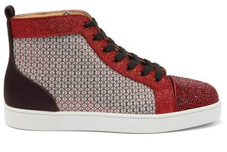 Christian Louboutin Louis Strass Crystal-embellished High-top Trainers - Mens - Multi