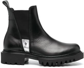 Cesare Paciotti Metallic-Trim Leather Ankle Boots