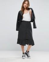Asos Button Through Midi Skirt in Polka Dot