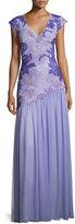 Tadashi Shoji Cap-Sleeve Lace & Chiffon Gown, Purple